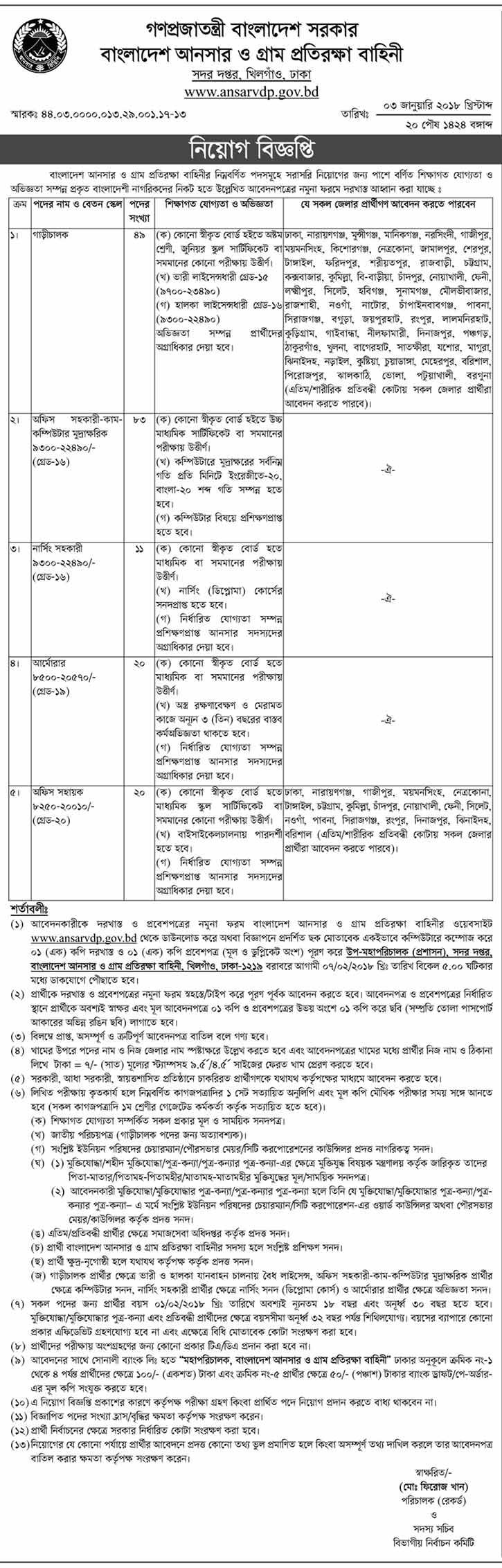 Bangladesh Ansar VDP Job Circular 2018 - CareerGuideBD
